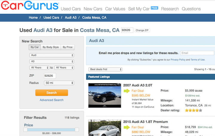 find bargains USed Cars
